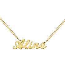 Gargantilha De Nome Em Ouro 18k Cordão Fita - Frete Grátis