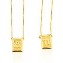 Escapulário Prata Banhado A Ouro 18k Estrela De Davi Lefine