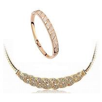 Colar + Bracelete Feminino Noiva Zircônia Banhado Ouro 18k