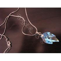 Colar Cristal Swarovski Folha Blue Aurora Boreal Prata 925