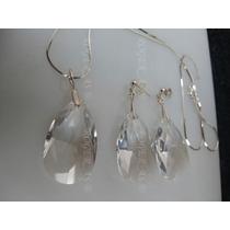 Conjunto Cristal Swarovski Gota 2.8 Cm Cristal Prata 925