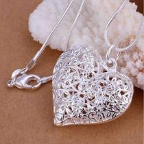 Colar Pingente Coração Flores Banhado A Prata 925