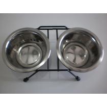 Comedouro E Bebedouro Para Cães E Gatos ( Aço Inox) (500ml )