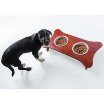 Comedouro Duplo Para Cães E Gatos Suporte Madeira 2l E 0,6l