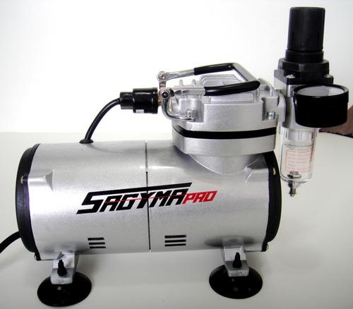 Compressor Ar Sagyma Asw18 Ultra Silencioso Aerografo Bivolt