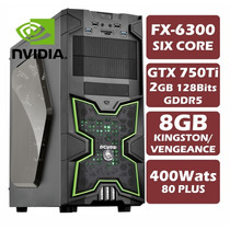 Pc Gamer Six Core Fx-6300, Gtx750ti, 8gb 1600, 400w 80plus
