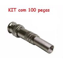 100 Peças: Conector Bnc 6mm C/ Mola E Parafuso