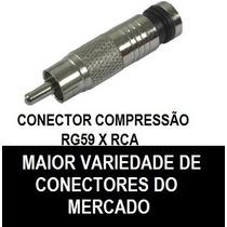 Conector Compressão Rca X Rg59/rg6 - 1º Linha - 10 Peças