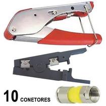 Kit Alicate Compressao Decapador Coaxial 10 Conectores Rg6