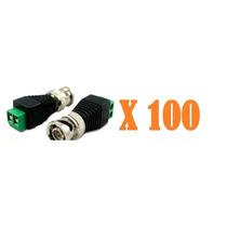 Kit Pacote 100 Plug Conector P4 Bnc P/ Cftv Camera Borne