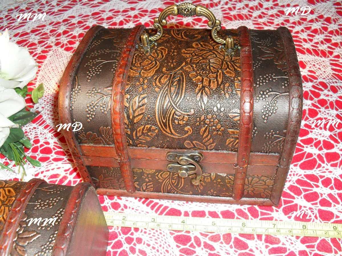 Conjunto Bau De Madeira Provençal Tipo Antigo Original ! ! ! R$ 179  #B61534 1200x900