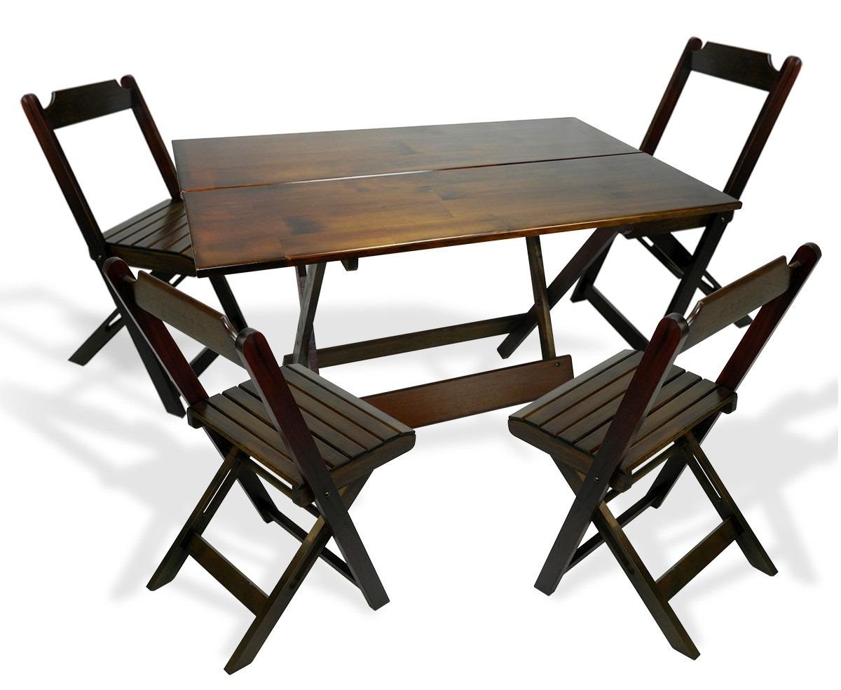 Conjunto De Cadeira E Mesa Dobrável Em Madeira 120x70 Imbuia R$ 339  #8D6C3E 1200x984