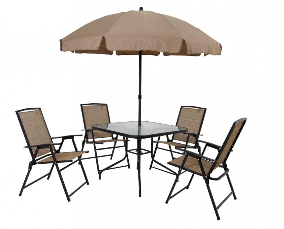 mesa jardim guarda sol:Conjunto De Jardim Acapulco Mesa 4 Cadeira Guarda-sol – Mor – R$ 880