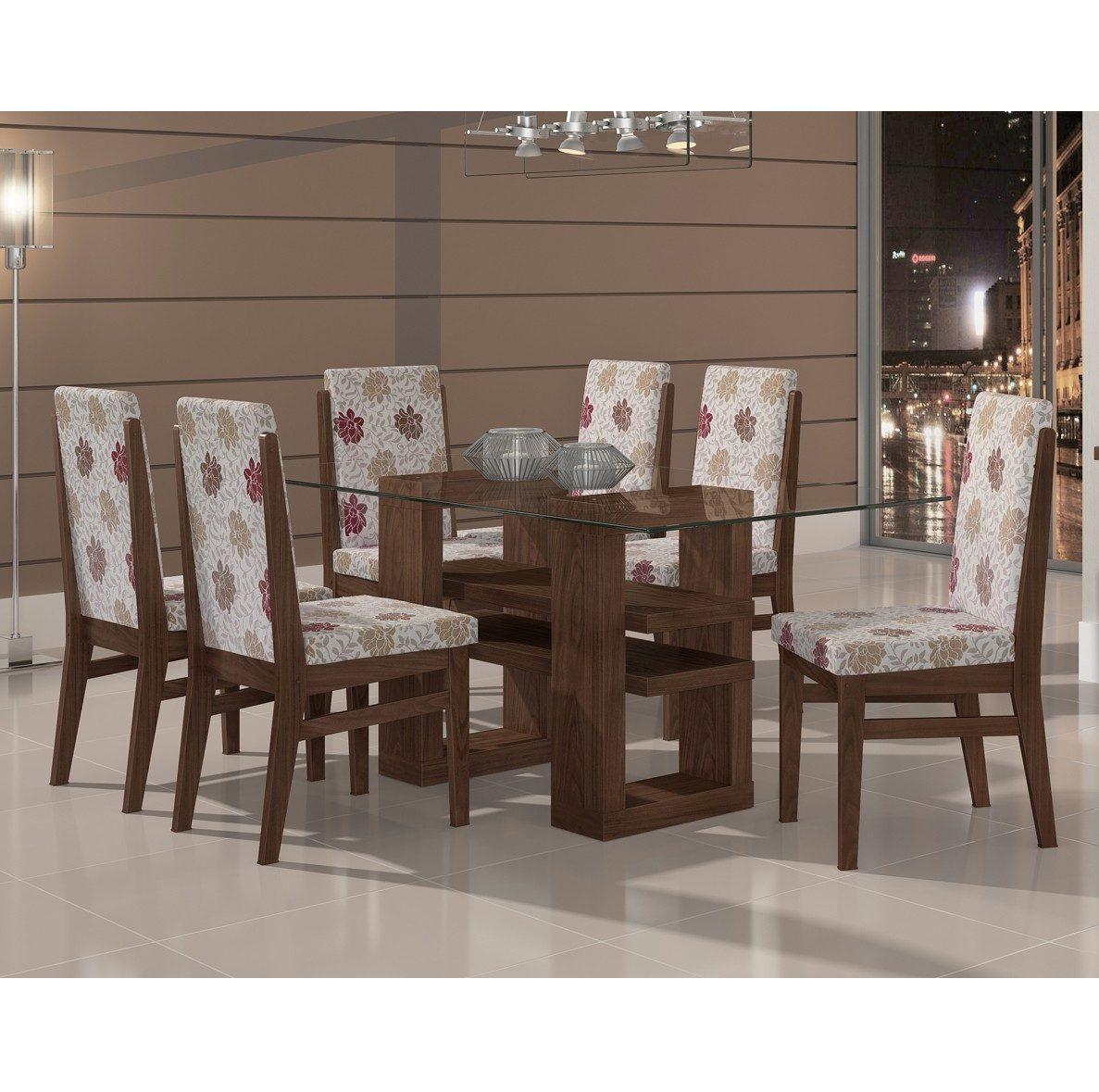 Conjunto De Mesa Com 6 Cadeiras 100% Mdf Copa Sala Jantar R$ 1.879  #3F2B21 1187x1179