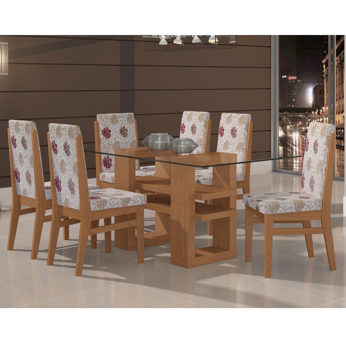 Conjunto Mesa Com 6 Cadeiras Jmarcon Star Imbuia Bege Listrado Bege  #8A6141 1187x1179