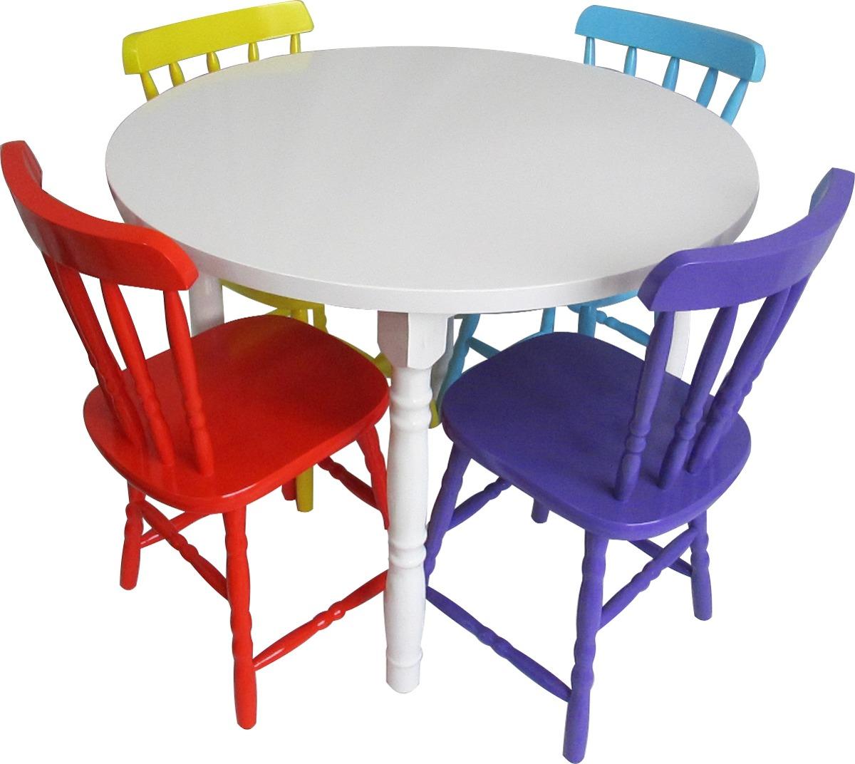 Conjunto De Mesa Country Com 4 Cadeiras Coloridas R$ 1.199 00 no  #B52016 1200x1072