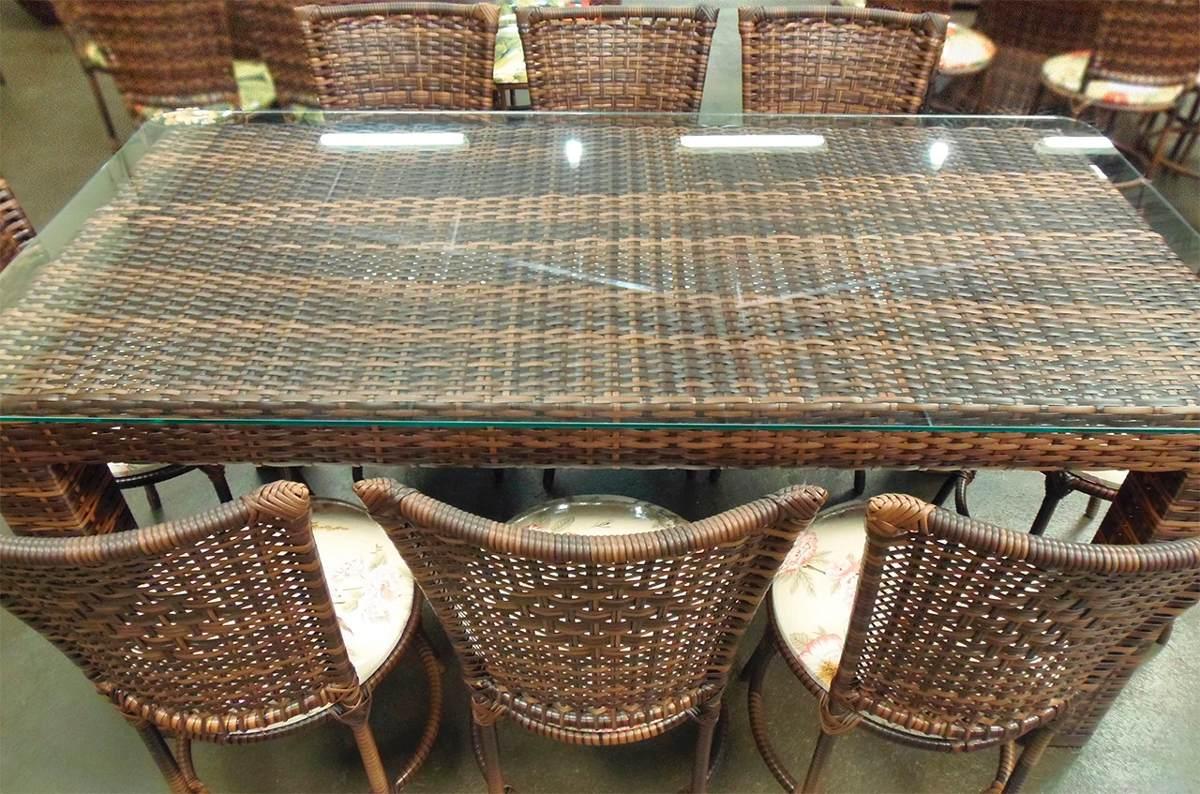 Conjunto de mesa retangular e 8 cadeiras junco rattan ferro r no mercadolivre - Mesas de rattan ...