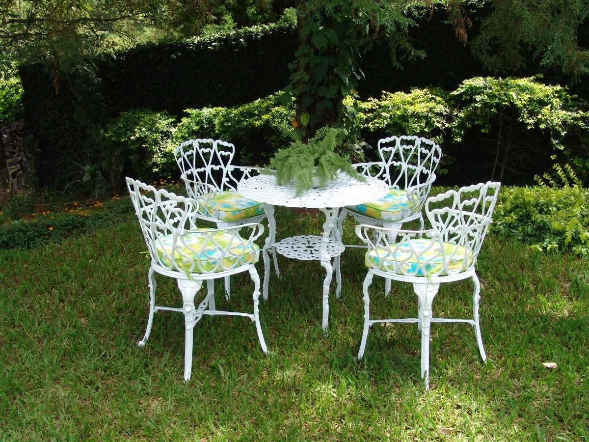 Conjunto De Jardim Em Ferro Fundido Com Mesa E 4 Cadeiras Pictures to  #476122 1200x900