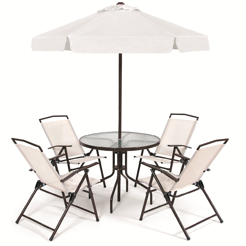 mesa jardim ombrelone:Conjunto Jardim Miami C/ Mesa 4 Cadeiras + Ombrelone – R$ 749,00 no