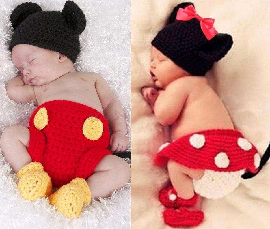 conjunto newborn mickey ou minnie de croche fotografia