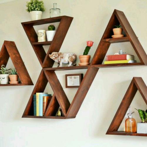 Sala De Jantar Triangular ~ decoracao de sala triangularConjunto Nichos Triangular Madeira Sala
