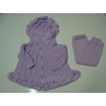 Conjunto Esquimó Casaco Com Capuz + Calça Trico Lã Inverno