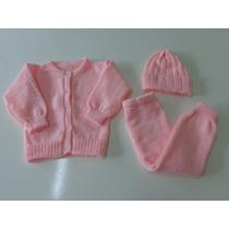 Conj Casaco+calça Compr+gorro Lã Bebe Nene Enxoval Presente
