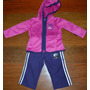 Conjunto Adidas - Original, Rosa Com Calça Roxa