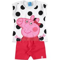 Conjunto Blusa Short Peppa Pig Bolinhas Malwee