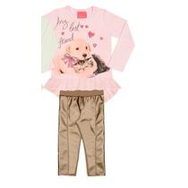 Conjunto Infantil De Inverno Blusa Com Calça Em Couro Frente