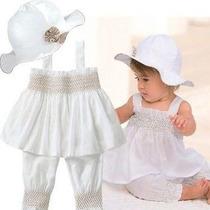Conjunto Batizado Bebê Branco Recém Nascido Menina Infantil