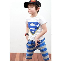 Conjunto Infantil Super-homem Camisa Calça Meninos