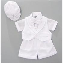 Terno Conjunto Social P/ Bebê Bermuda Batizado Casamento
