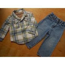 Calça Jeans Camisa Xadrez Importada Bebe 12 A 18 Meses
