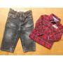 Calça Jeans Gap Camisa Xadrez Importadas Bebe Menino12 Meses