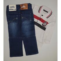 Conjunto Marisol Camisa Polo Em Malha E Calça Jeans - 1p