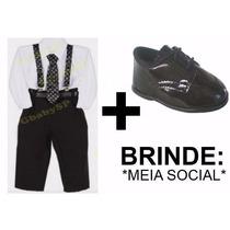 Roupa Social Com Suspensório Gravata Bebê + Sapato + Brinde