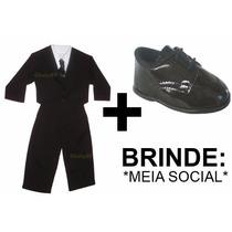 Conjunto Social Infantil Terno Bebê + Sapato Social + Brinde