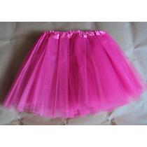 Saia De Tule Rosa Pink 3 Camadas Tutu Bailarina