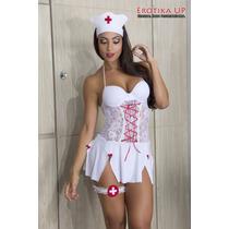 Fantasia Completa Sensual Luxo Enfermeira Sexy P M G, X G