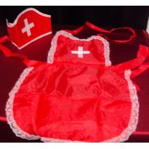 Fantasia Enfermeira Sexy Kit 2 Peças Cap + Avental Com Renda