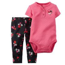 Conjunto Bodysuit Rosa Com Legging Escuro Florido - Carters