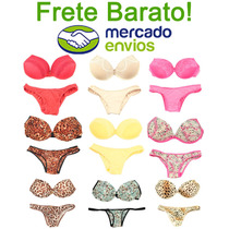 Promoção Lingerie Conjunto C/ Bojo Kit 10pç Barato Atacado