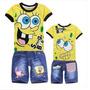 Conjunto Infantil Camisa Bermuda Bob Esponja Mcqueen Outros