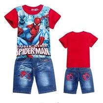 Conjunto Infantil Homem-aranha Camisa Bermuda P Entrega Bebê
