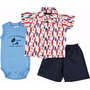 Kit Bebê Body, Camisa Tricoline E Short