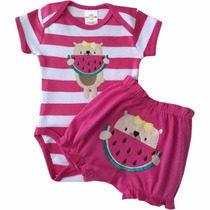 Body + Short Para Bebê Suedine - Rosa Pink