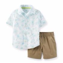 Carters Conjunto Camisa Social E Bermuda Para Menino
