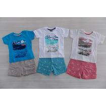 Conjunto Bebê Camiseta E Bermuda Em Cambraia - Lançamento