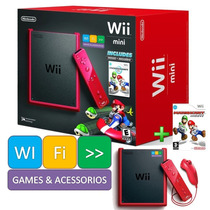 Nintendo Wii Mini + Remote + Nunchuck + Mario Kart Original